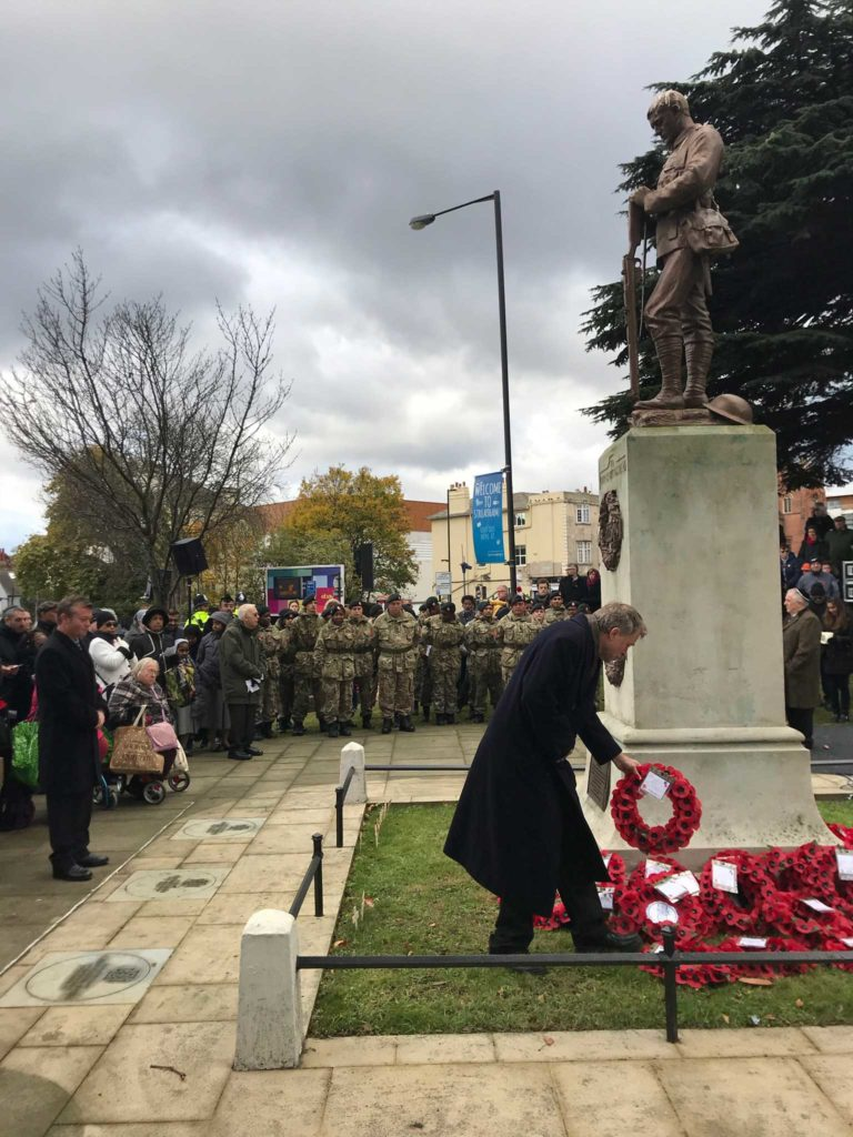 Chair of the FoSC laying a wreath on behalf of our members 13th November 2017